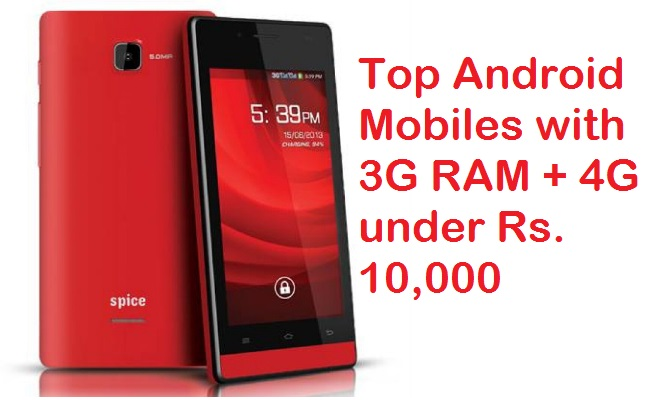 top 15 mobiles with 3gb ram 13mp camera 4g for rs 10000